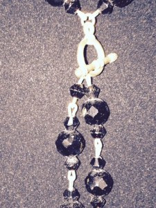 Necklace - black glass beads - close up