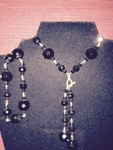 Necklace - black glass beads