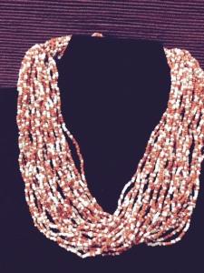 Necklace - multi-strand orange beads 4