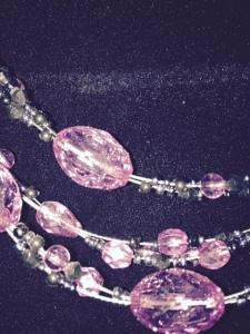 Necklace - purple glass beads - closeup