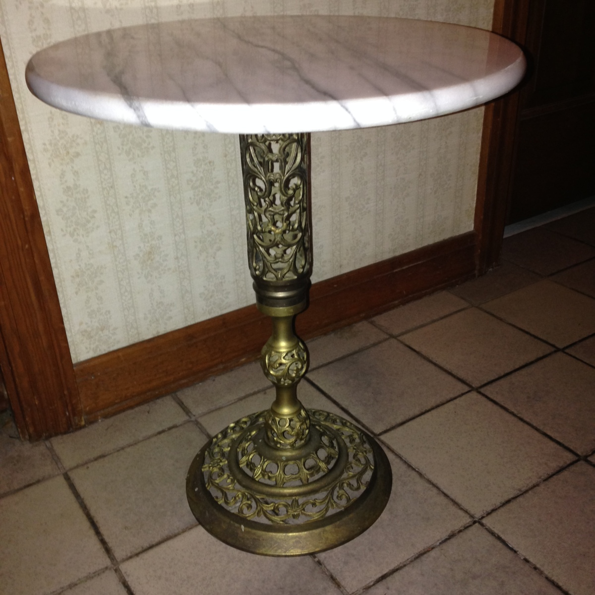 Sold Vintage Round Marble Top Table With Ornate Brass