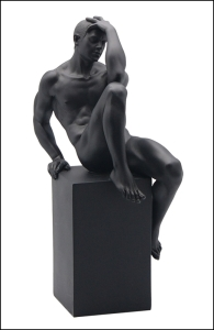 Description: Nude Male - 123(black) - Material - Poly Stone - Size - (h) 9 3/4 Condition: New - Polystone Definition - A medium used for Sculpture Casting. It is hard to find one that delivers a cleaner, more substantial representation of an original sculpture than a product manufactured in Polystone. Polystone has a weight that is very significant accompanied by a porcelain like feel to the touch, while capturing the most minute details, making it unsurpassed in collectible manufacturing material.