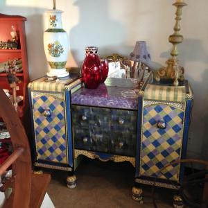 Take a look at this amazing Harlequin-style bureau!