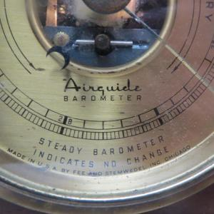 930s Airguide Barometer, Brass & Mahogany Case by Fee and Stemwedel