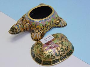 """Cloisonne Turtle Trinket Box  -  3.75"""" long in good condition"""