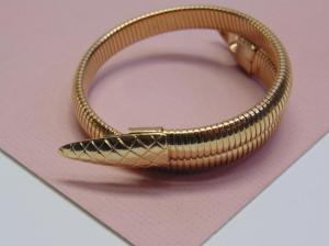 Gold tone adjustable snake bracelet