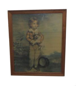 Old framed print of boy holding his puppy.