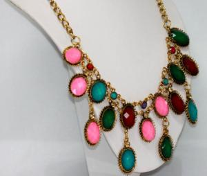 Blue, Red, Green, Lavender & Pink with Brass Necklace