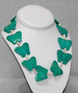 502CTW NATURAL BLUE TURQUOISE BUTTERFLY