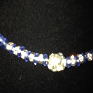 Choker - Blue Beads with Rhinestones $20 - close up - didn't come out well