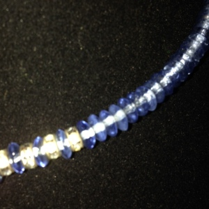 Choker - Blue Beads with Rhinestones $20 - close up - somewhat better photo