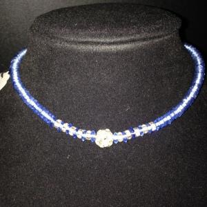 Choker - Blue Beads with Rhinestones $20