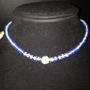 Choker - Blue Beads with Rhinestones $20
