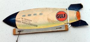 1950's Gulf Gas Advertising Zeppelin New High-Power Gulf No Knox Gas