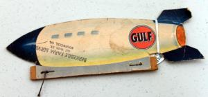 1950's Gulf Gas Advertising Zeppelin New High-Power Gulf No Knox Gas