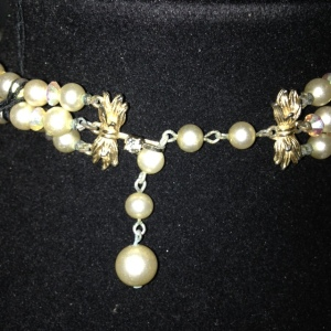 Marvella Vintage 3 Strand Choker with Faux Pearls $30 - clasp