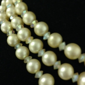 Marvella Vintage 3 Strand Choker with Faux Pearls $30 - close up