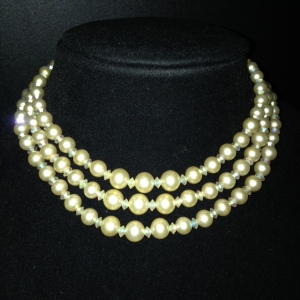 Marvella Vintage 3 Strand Choker with Faux Pearls $30