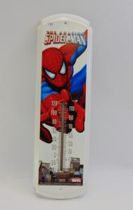 "Marvel Amazing Spiderman Tin Thermometer. 17"" long in new condition. Wall hanger."