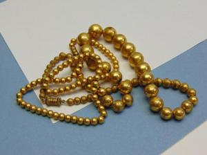 "Vintage Brass Bead Necklaces (2). 14"" & 16"" long and both are on chains. In good condition."