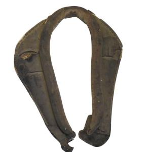"Antique Horse Collar Stuffed with Straw. This lovely antique horse collar stuffed with straw is quite in good shape considering the age & measures 24""h x 17""l! This would look great hanging on any wall."