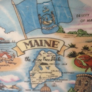 State of Maine Souvenir Ribbon Plate
