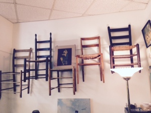 Wall Art Using Lovely Old Chairs - thanks to my ordinarily very black & white engineer husband John for the idea!