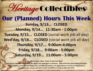 Hours - Week of 09 13 15