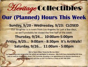 Hours - Week of 09 20 15