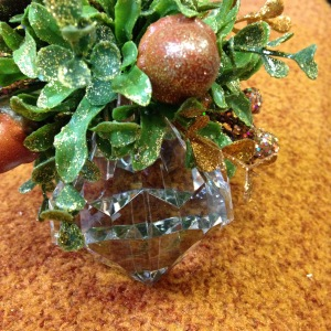 Blessing of the Harvest - ornament with acrylic jewel - green & brown/gold