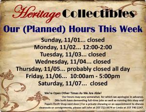Hours - Week of 11 01 15