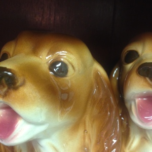 "Two ""Lady"" figurines from Disney's Lady & the Tramp (?)."