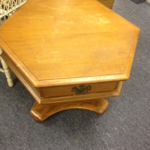 Pedestal Style Ethan Allen Coffee Table with Single Drawer