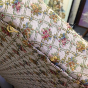 Chair, High Back - Yellow Upholstery - Detail of Upholstery on Back