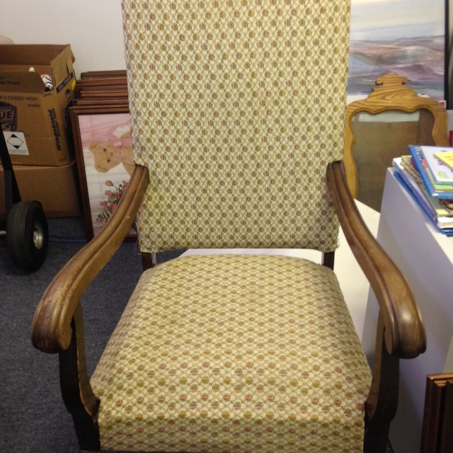 Chair, High Back   Yellow Patterned Upholstery