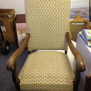 Chair, High Back - Yellow Patterned Upholstery
