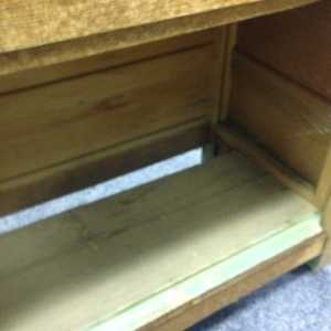Chest, 2 Drawers & Cabinet - inside chest, showing missing piece