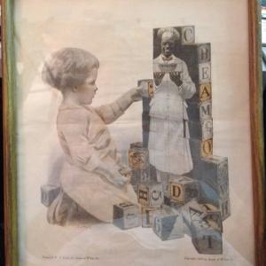 Vintage Cream of Wheat Ad - girl & blocks