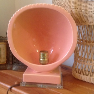 Salmon 1950's Vintage Lucite Lamp 2