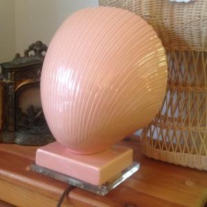 Salmon 1950s Vintage Lucite Lamp