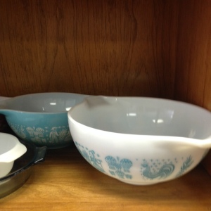 Pyrex Blue and White Butterprint Bowls 442 and 443