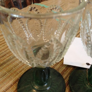 Cut Glass Wineglasses with Green Stems 2