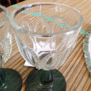 Cut Glass Wineglasses with Green Stems 3