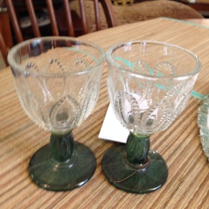 Cut Glass Wineglasses with Green Stems