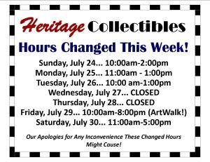 Hours July 24-July 30