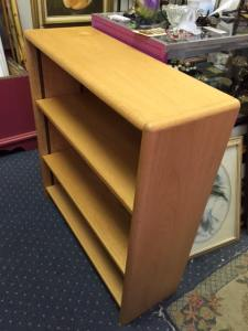 """Blonde Bookcase. About 33.5""""W x 36""""H x 12""""D. Our Price: $45.00."""
