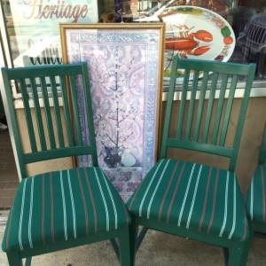 Dining Chairs - Green Stripe 8