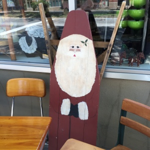Primitive Santa on Wooden Ironing Board