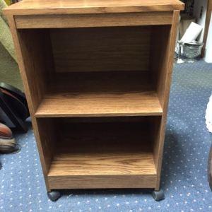Two shelf cabinet on wheels