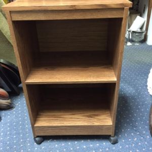 Two shelf cabinet on wheels